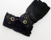 Unisex Black Fingerless Exercise Steampunk Gloves / Black Wrist Wrap Vegan Leather & Suede - Metal Gears Trim / Made-To-Order Gift Under 40