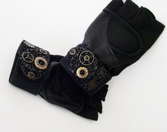 Unisex Black Fingerless Exercise Steampunk Gloves / Black Wrist Wrap Vegan Leather & Suede - Metal Gears Trim / Made-To-Order Gift Under 50