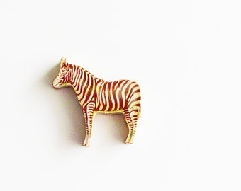 1960s Zebra Brooch - Pin / Unique Gift Under 50 / Upcycled Vintage Hand Cut Wood Jewelry / Brown & Cream Wood Jungle Animal