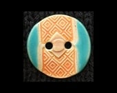 Handmade Ceramic Buttons: Soft Matte Apricot Orange and Gloss Turquoise on Cream Porcelain