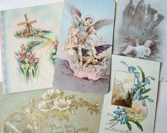 Five Antique Religious Cards - Vintage Ephemera, Religious Kitsch, Italian Saint Michael Card, Church Postcard etc.