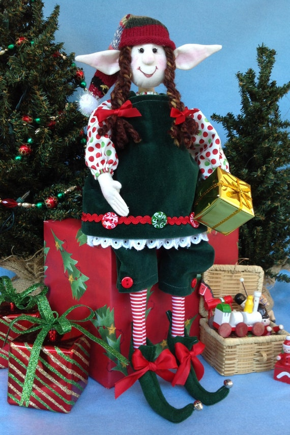 Mailed Cloth Doll Pattern 19in Christmas Girl Elf