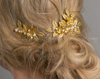 Gold Leaf Hair Comb, Bridal Gold Flower Headpiece, Pearl and Rhinestone Hair Combs, Bridal Hair Accessory - Vania