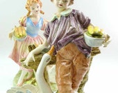 Early Japan Arnart Creations Boy Girl & Goose Glazed Bone China Porcelain Couple Figurines Feeding Geese Corn Victorian Country Farm Life