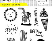 stamp clear summer cactus watermelon ice cream arrow cocktail juice glass sunshine sunyou and me siesta