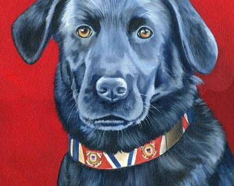 Custom Pet Portrait, Dog Painting from your photo custom made painting for you, Custom Dog Painting, Dog Portrait, custom black lab painting