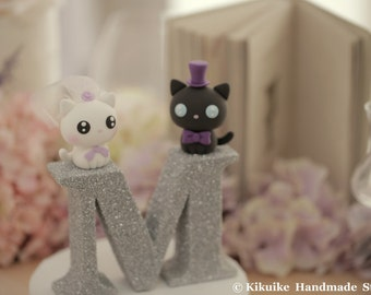 cat and kitty Wedding Cake Topper---k853