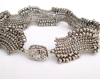 silver seed bead bracelet OOAK bracelet art jewely boho bracelet beaded bracelet bead bracelet beadwork jewelry beaded jewelry