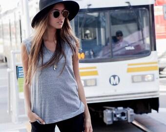 Womens Vneck Tee, handmade shirts, classic shirts, womens tops, womens vneck tops, cotton tops, cotton shirts, grey shirts