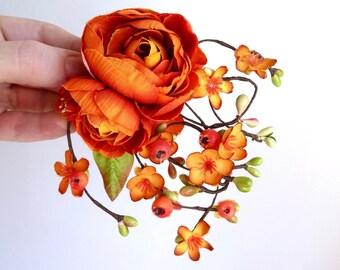 fall hair accessories, fall wedding hair clip, autumn wedding, fall flower hair accessory, orange hair flower, rustic wedding hairpiece