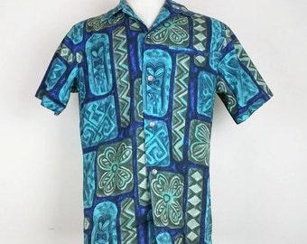 Vintage Napili Hawaiian Floral Pattern Shirt Mens S M 1960s