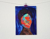 Faceless Portrait Mini Print, Small Wall Art Prints, Blue Gallery Wall Prints, Pop Surrealism Abstract Portrait, Colorful Stationary Cards