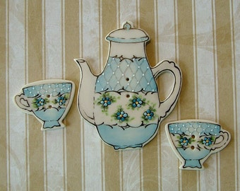 Tea Set Buttons set of 3
