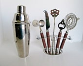 Bar Tools w Stand,  Double Wall Stainless Steel Cocktail Shaker, barware caddy set Jigger, Bottle Opener, strainer, garnish knife, stirrer