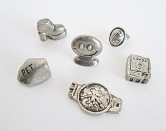 Monopoly 70s Game Metal Pewter Tokens seventies game pieces six pcs movers platform shoe, pet rock, mood ring, smiley face, 8 track tape