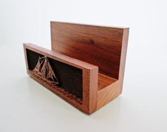 Wood Laser Cut Tray Business Card Holder, Solid Walnut Lasercraft USA, Mid Century WoodenTray Holder, Photo Holder, Hallway Office Desk