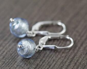 Murano glass earrings in blue earrings Venetian glass earrings blue glass earrings gifts for her