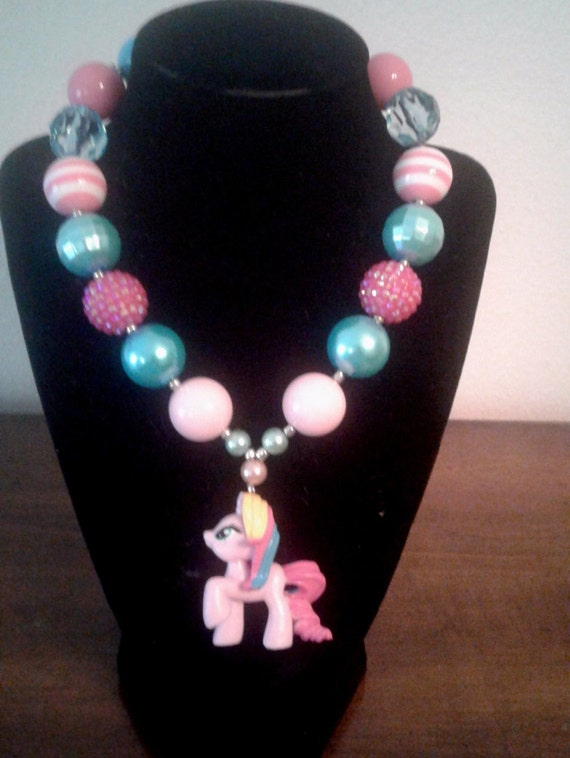 My Little Pony Bubblegum Bead Necklace, Handcrafted, Toddler Necklace, Birthday Necklace,Chunky Bead Necklace, Jewelry for kids