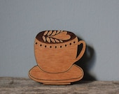 Coffee Cup Wooden Brooch