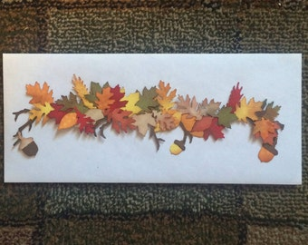Premade Fall Leaves Embellishment - Highly Detailed - Hand Inked Leaf Swag