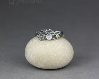 Twig ring - moonstone in silver, tiny flowers, limited collection