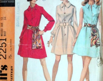 Vintage 60's McCall's 2251 Sewing Pattern, Misses' Dress in Two Versions and Scarf, Retro Mod, Size 12, 34 Bust, 1960's Fashion