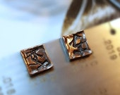 Medieval Brown Black Copper Studs, Men's Industrial Stud Earrings, Women's Post Earrings, Distressed Tribal Symbols, Hammered, Organic Shape