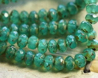 TEAL TIDBITS .. 30 Premium Picasso Czech Rondelle Glass Beads 3x5mm (4519-st)