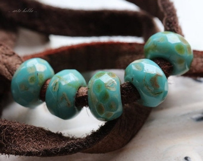 TURQUOISE ROLLER No. 2 .. 10 Premium Picasso Czech Glass Large Hole Roller Beads 6x9mm (4738-10)