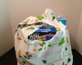 Reusable Market Tote / Grocery Bag / Created From  Repurposed Vintage  Fabrics / Machine Wash and Dry