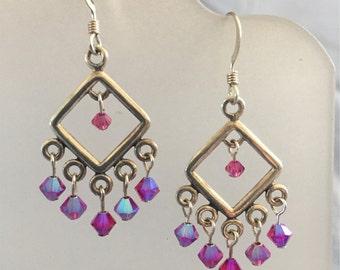 Fuschia Crystal Silver Chandelier Earrings
