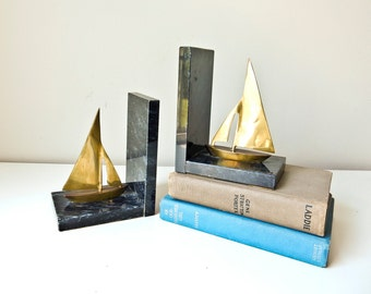 Marble and Brass Sailboat Bookends