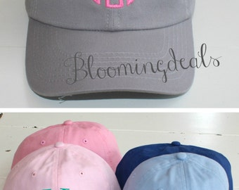 Monogrammed Baseball Cap Youth Personalized Hat Grey Low Profile Cap
