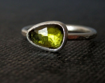 Olive green rose cut tourmaline ring / sterling silver and green tourmaline / October birthstone / alternative engagement ring / tourmaline