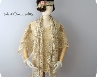 Long Crochet Scarf, Shabby Style, Edwardian Flapper Look, Beige Cotton