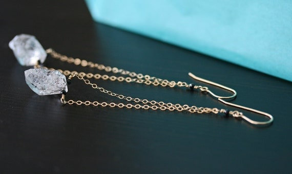 Herkimer Diamond Earrings, Dangle Earrings, Crystal Earrings, Raw Crystal Earrings, Long Earrings, Quartz Earrings