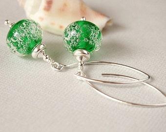 Green Bubble Lampwork Glass Bead Earrings, Gin Bottle Green, Sterling Silver Earrings - MIDOURI FIZZ