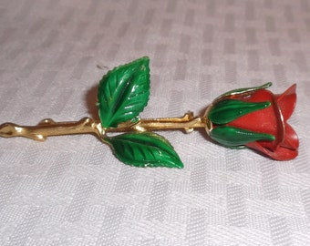 1960s Vintage Red and Green Enameled Rose Brooch