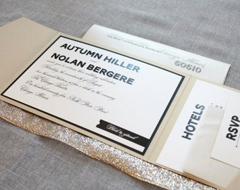 Champagne Gold Wedding Invitation, Black Pocket Wedding Invitation, Vintage Wedding Invitation, Modern Wedding - Autumn and Nolan