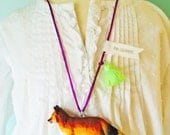 Fox Necklace in Gold with Tassel Necklace Fox Jewelry Woodland Necklace by The Trendy Tot