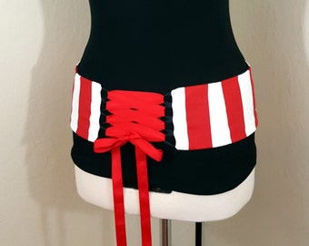 Red Stripe Reversible Belly Dance Corset Style Lace Up Belt Shaped to Fit Your Hips