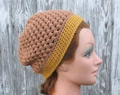 Crochet Slouchy Beanie Hat in Almond Tan Brown and Gold