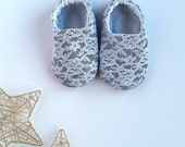 Reversible Baby Shoes, Chambray & Lace, 9 Custom Color Options