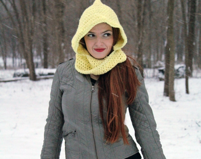 Yellow Mobius Scarf Hooded Scarf  Children's Hat Gift Under 30