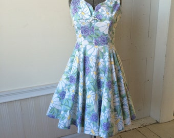 1950s 1960s L'AIGLON Cotton Floral Mosaic Tea Party Day Dress Purple Roses Daisies Circle Skirt Shelf Bust Size Medium Large