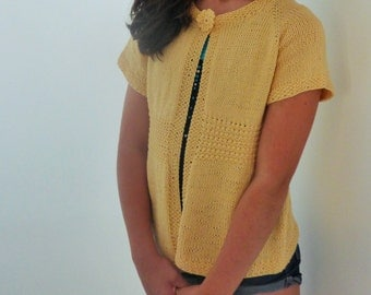 """Top Down Knitting Pattern Cardigan Sweater - Grande Emma - a Seamless Top Down Cardigan (8 sizes to fit 28 - 42"""" chest))"""