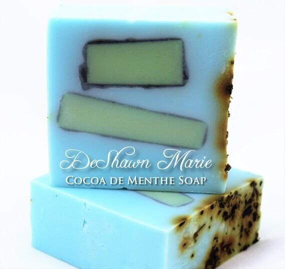 SALE SOAP - Cocoa de Menthe Soap, Mint Soap, Chocolate Soap, Vegan Soap, Peppermint Soap, Soap Gift, Blue Soap, Christmas Gift, Father's Day
