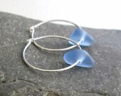 Cornflower Blue Sea Glass Earrings, Periwinkle & Sterling Silver Hoop Earrings, Eco Friendly Jewelry