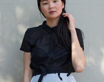 SALE - Silk/Cotton Blouse - 'Sweet Abandon' blouse in Noir