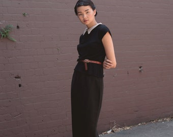 SALE - Basque Silk/Linen Pencil Skirt in Noir